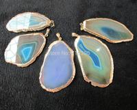 Wholesale Natural Agate stone Geode pendants 10 pcs/lot Mixed lot Gemstone drusy Pendants.Free shipping