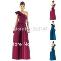 New 2014 Custom made one shoulder long party dress empire taffeta women plus size dress