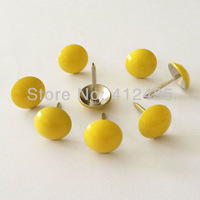 (Free Shipping) 500PCS/LOT D11mm* H17mm Lemon Color Print Head Upholstery Nails For Decoration Filed/ Sofa Decoration. HQD11500