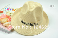 50pcs Panama style hat Topper Fishing large brim straw Wide-brimmed summer beach tourism breathable curling Alphabet hat M 56-58