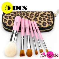 6 PCS Pink Professional Mini Goat Horse Hair Eye Shadow Cosmetic Makeup Brushes Full Set With Zipper Leopard Bag Free Shipping