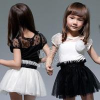 2013 summer models stitching black and white princess dress children dress girls dress yarn free shipping 5pcs/lot