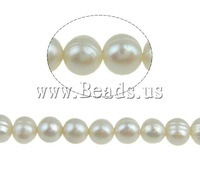 Free shipping!!!Round Cultured Freshwater Pearl Beads,2013 Brand, natural, white, 6-7mm, Hole:Approx 0.8mm, Length:14.5 Inch