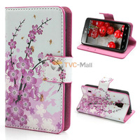 Plum Blossom Leather Wallet Case Cover For LG P715 Optimus L7 II Dual Duet+  Free Shipping