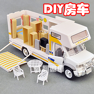Diy assembling rv travel with furniture plain alloy bus model toy
