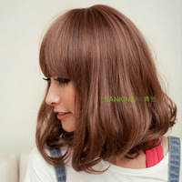 Light brown/Dark brown Wigs short hair girls cute fluffy slightly curled Simulation scalp wig free shipping