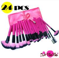 24 PCS Pink Professional Soft Hair Makeup Artist Brushes Full Set Roll PU Case Salon Shop Free Shipping