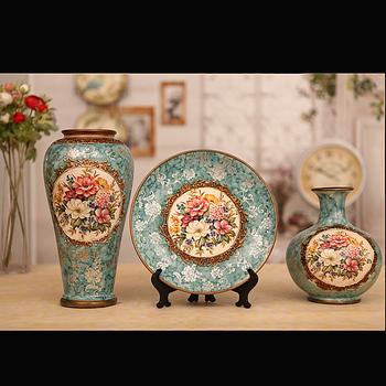 2013 free shipping Wood fashion ceramic vase three pieces set blue quality desktop decoration