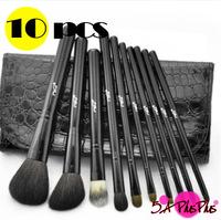 10 PCS Black Professional Kolinsky Hair Zipper Bag Makeup Artist Brushes Full Set Crocodile PU Case Salon Shop Free Shipping