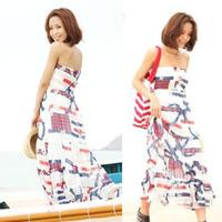 Free shipping 2013 bohemia belt fur ball navy style chiffon tube top full dress 50331