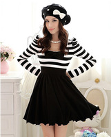 Modern & Fashionable Stripe Bow-tie Waist Shaping Dress----Black