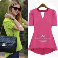 Fashion summer women's short-sleeve top basic shirt medium-long all-match puff sleeve chiffon shirt