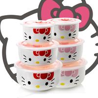 Microwave oven lunch box bone china ceramic fresh bowl hello kt cat cartoon piece set