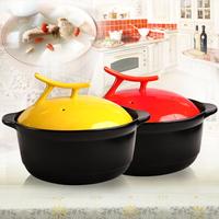 Candy color vertical lid ceramic casserole cooking pot sauceboxes soup cooker soup pot lid 3l