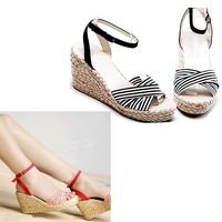 Stripe straw braid wedges sandals female small yards shoes plus size the pdpo shoes customize shoes shoe store 30 31 32 33