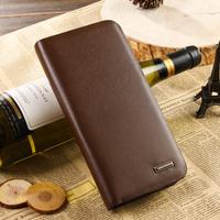 Male medium-long check zipper wallet cowhide long wallet design Men clutch