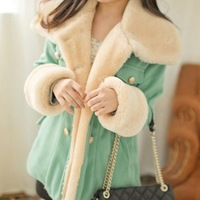 2013 new Women's winter coat ladies' jacket cotton-padded jacket candy color double breasted sheep trophonema women's