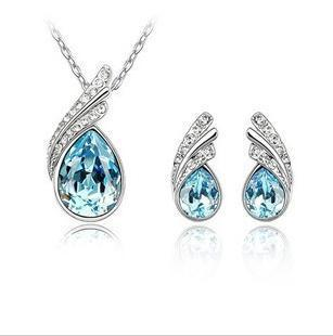 CS44 Crystal Water drop leaves Earrings necklace jewelry sets Classic Wedding Dress for women(China (Mainland))