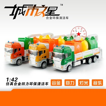 4 battery acoustooptical WARRIOR alloy clean car sweeper garbage truck eco-friendly car toy