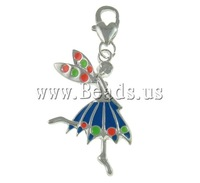 Free shipping!!!Zinc Alloy Lobster Clasp Charm,Men Jewelry, Fairy, silver color plated, enamel, 20.50x31.50x3mm