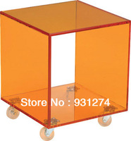 Acrylic Side Table with Wheels/Lucite Table/BedSide Table/ Acrylic Cube Rolling End Table/Acrylic Furniture