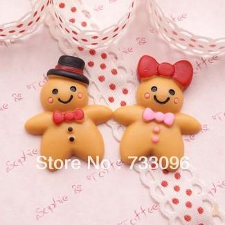 Free Shipping 40Pcs/lot Very Hot and kawaii cute Mr & Mrs Gingerbread Man Cabochon phone case resin DIY phone decoration