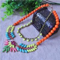 Wholesale new fashion amazing exaggerated multicolor acrylic stone long necklace for women
