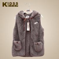 Free shipping2013 baby design loose long berber fleece wool sweater vest