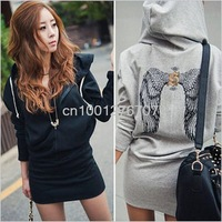 autumn Printed back wings dress with a hood casual sweater New Women's one piece dress zipper hoodie jacket drop shipping