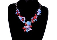 Supply new fashion exaggerated multicolor acrylic stone long necklace