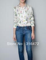2013 Retro Womens Long Sleeve Lapel Person Print Chiffon Shirt Button Blouse Tops,Free shipping