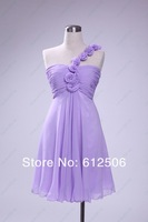 Actual Images Cheap Bridesmaid Dresses under 100$ Chiffon One Shoulder Sheath Ruffle Knee Length yk-8E27H
