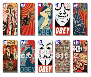 10PCS/lot  new unique design OBEY  hard back cover case for iphone 4 4th 4s+free shipping