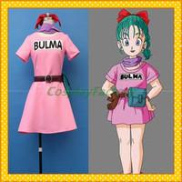 Free Shipping Custom Make Dragon Ball Cosplay Bulma Party  Dress Costume,1.5kg/pc