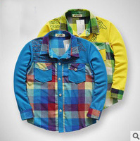 free shipping 2014 children plaid turn-down collar shirts blue yellow boys long sleeve shirt boy clothes 4size 4pcs/lot