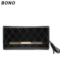 2013 women's cowhide japanned leather wallet female long design fashion plaid wallet women's genuine leather wallet