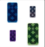 New Arriva cover case with grid/square pattern for iphone 4/4s ,transparent gel mobile phone case ,50pcs/lot free shipping