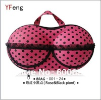Free Shipping rose and black point bra bag lady underwear storage bag bra case 50pcs /lot