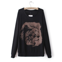 2013 autumn new long sleeve lion pattern printing women sweatshirts fashion round neck sweater lady's clothing Y0320