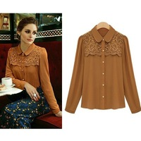 2013 Autumn Elegant Blooming Crochet Chiffon Long Sleeve Slim Woman Work Tops Blouse Plus Size Khaki Black