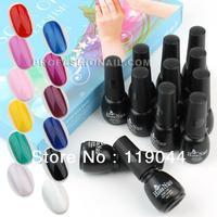 Free Shipping 5ml 12pcs Nail Art Color Soak Off UV gel Polish varnish Kit for Nail Tips Decoration NA818A