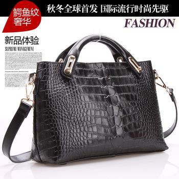 Fashion crocodile pattern genuine leather bag leather bag handbag vintage bag women's handbag sa0090