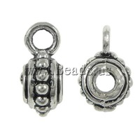 Free shipping!!!Zinc Alloy Bail Beads,Exaggerated, Drum, antique silver color plated, nickel, lead & cadmium free, 5x11x7mm