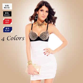 2014 Women's Punk Rivet Bra Top Club Dresses Sexy Studs Clubwear Dress 4 Color Polyester+Spandex  GM2680