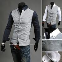 2013 Free Shipping New Mens Fashion Color Stitching design Slim Shirts,shirts for men white navy blue M-XXL 9021