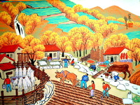 In autumn, the crops. Rural scenery. Folk art with Chinese characteristics, Chinese farmer painting, wholesale sales.