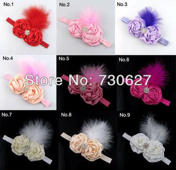10PCS Infant elastic feather Headband Fabric Satin Flower Baby Hairbands kid's rhinestone Headband Hair Accessories Wholesale