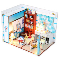 Wholesale unique diy miniature wooden dollhouse, dreaming doraemon intelligent gifts for kids, mini dollhouse