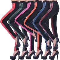 2013 autumn women's plus size ab PU patchwork legging pocket paragraph faux leather patchwork pencil pants