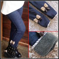 5pcs/lot 2013 kids girls jean bow pants cotton cashmere pants trousers elastic waist plus velvet girls warm pants